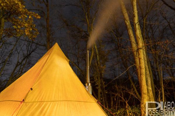 薪ストーブ,自作煙突ガード,テンマクデザインウッドストーブサイドヴュー,テント,煙突追加,作り方,幕内使用,レビュー