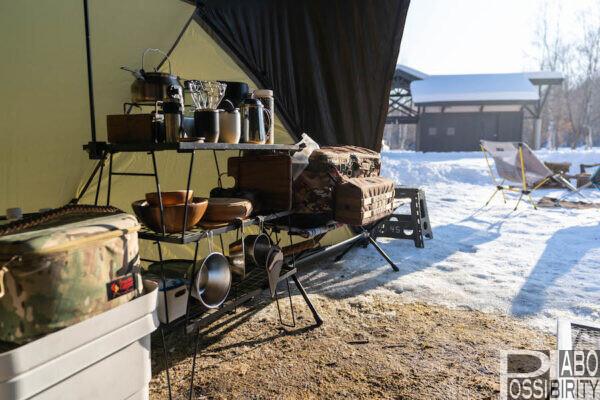 キャンピングムーン,フィールドラック,キッチンラック,テーブル,ブログ,冬キャンプ,CAMPINGMOON,アウトドアテーブル,おすすめ,ラック,雨キャンプ対策,収納バッグ,天板